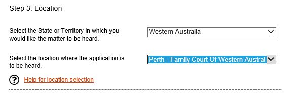 Select the State and Location where you want your application heard