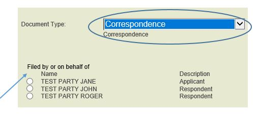Select correspondence document type and choose party